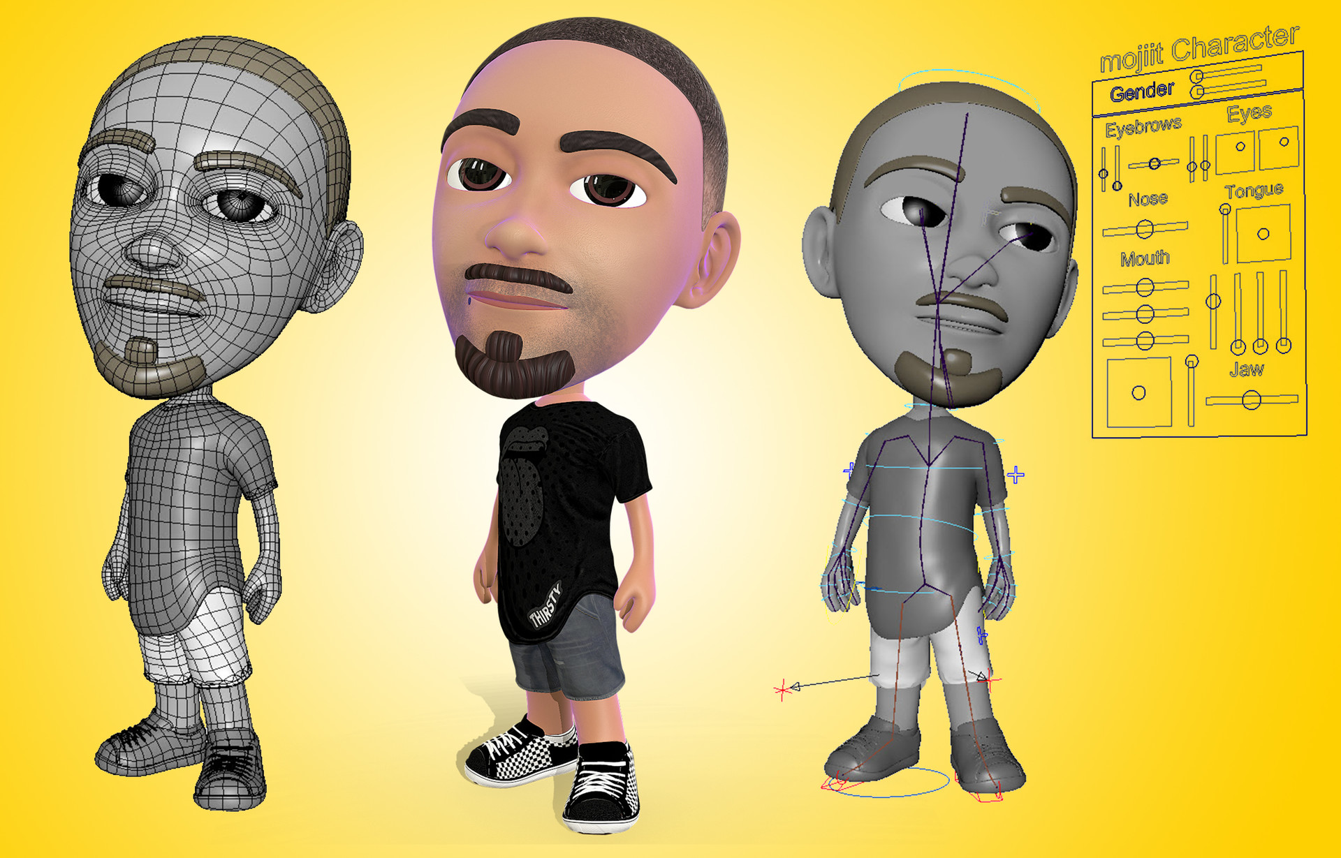 Designed & rigged a customizable Avatar to look like a representation of anyone for the Mojiit app.