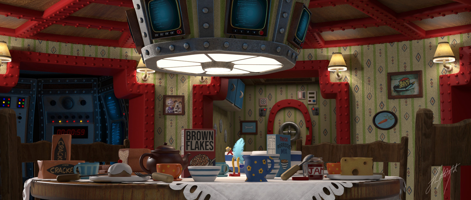 Alien Scene (1979) in Wallace and Gromit Style.