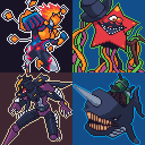 Clockwise from top left: Elemental HERO Blazeman, Mistar Boy, Fortress whale, Masked HERO Dark Law.