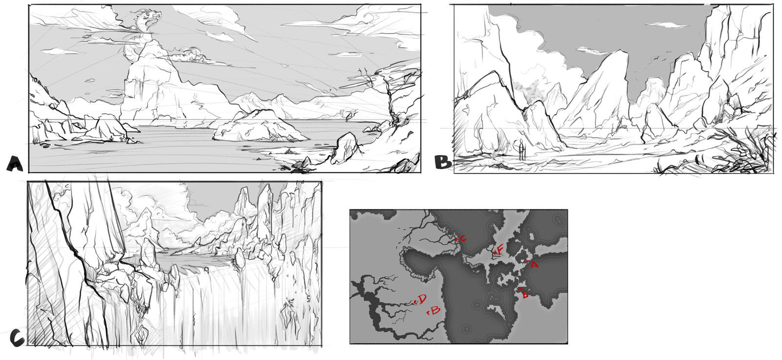 Environment concept art sketches