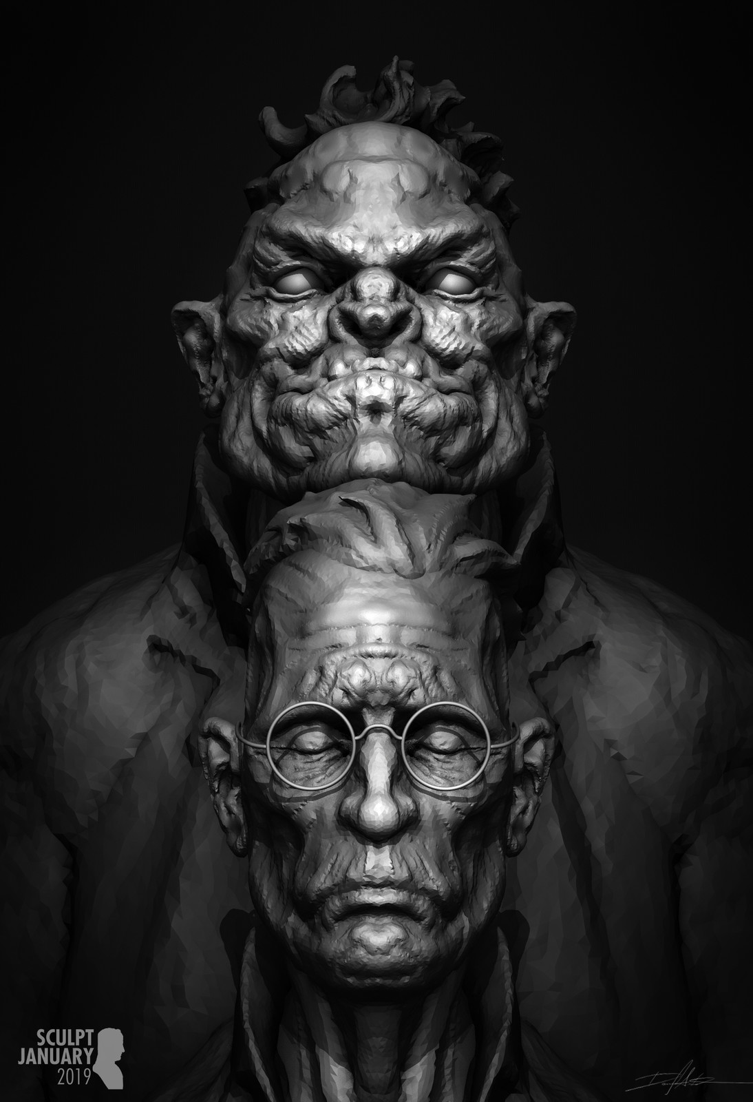 SCULPT JANUARY Day 08 - Jekyll and Hyde