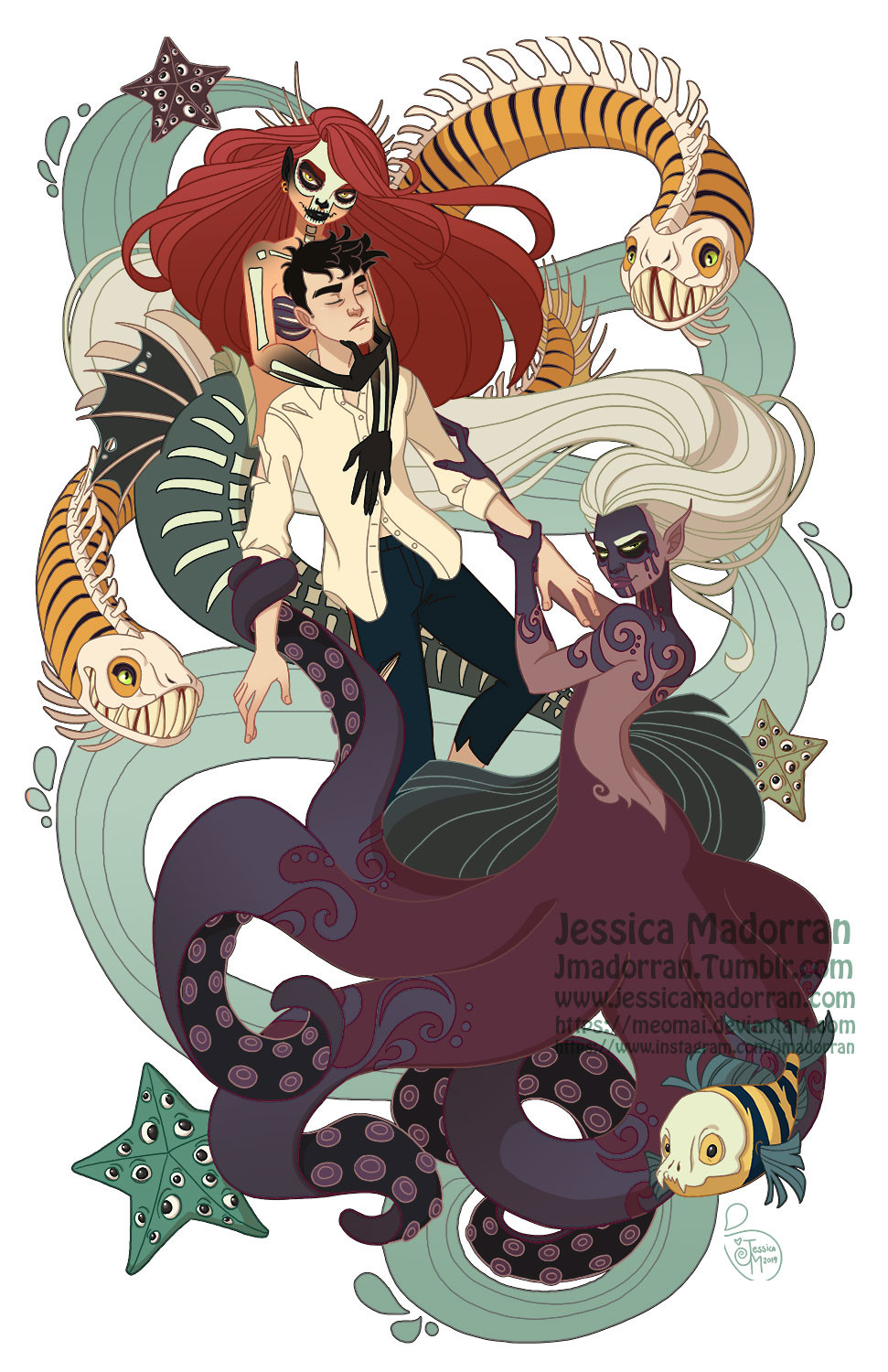 Jessica madorran character design little mermaid dayofthedex illustration 2019 artstation