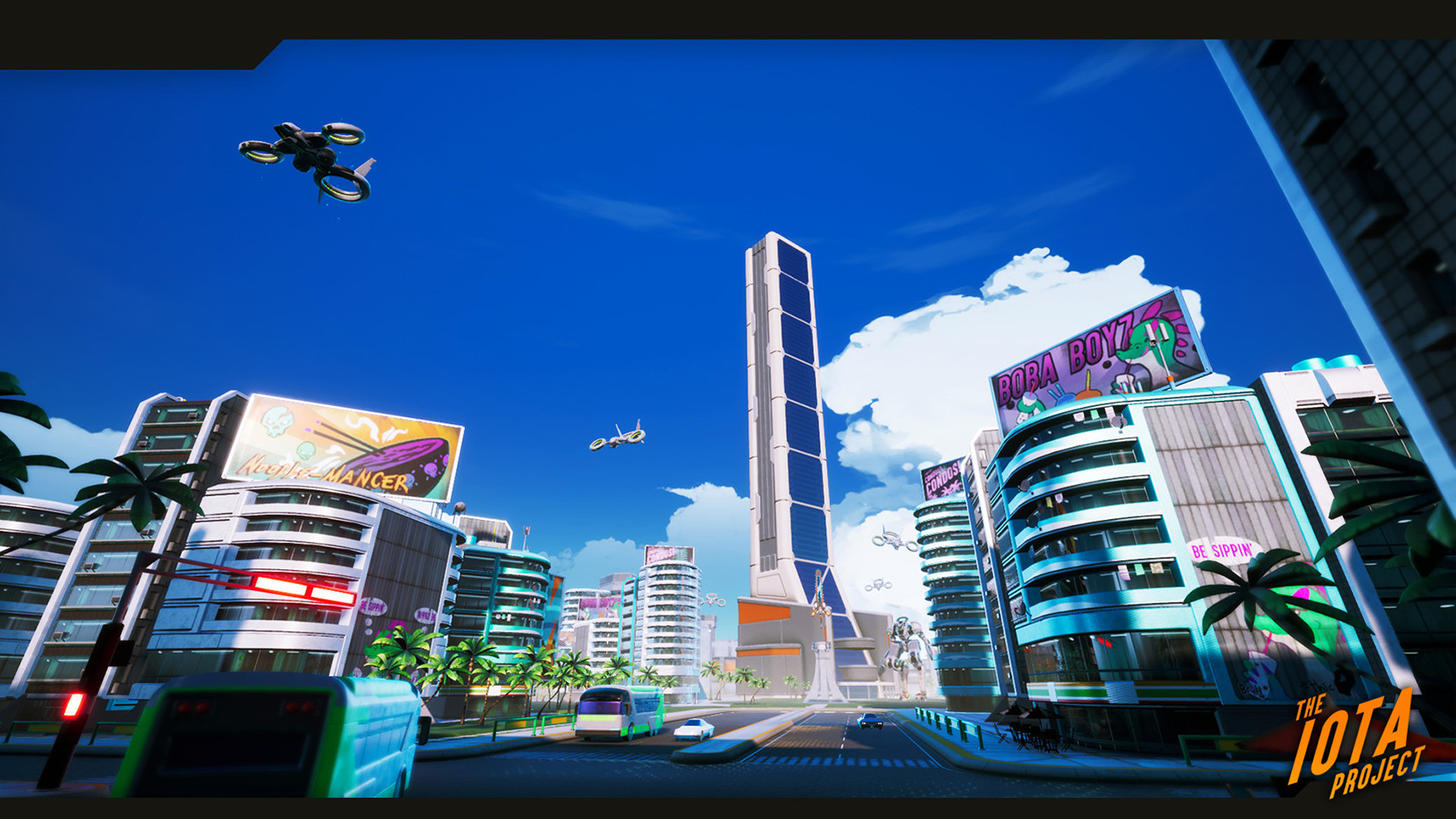 Some of the city renders of our alpha production. I produced the advertisements for the billboards and graffiti within the city along with many additional add-ons to the buildings.
