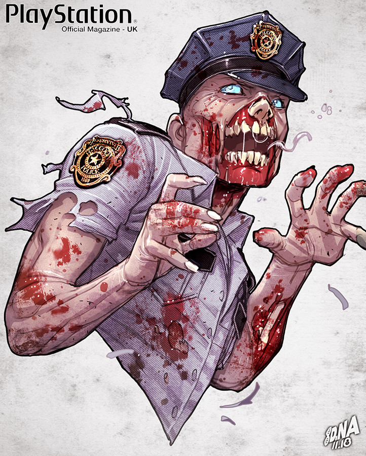 Police Zombie from Resident Evil detail