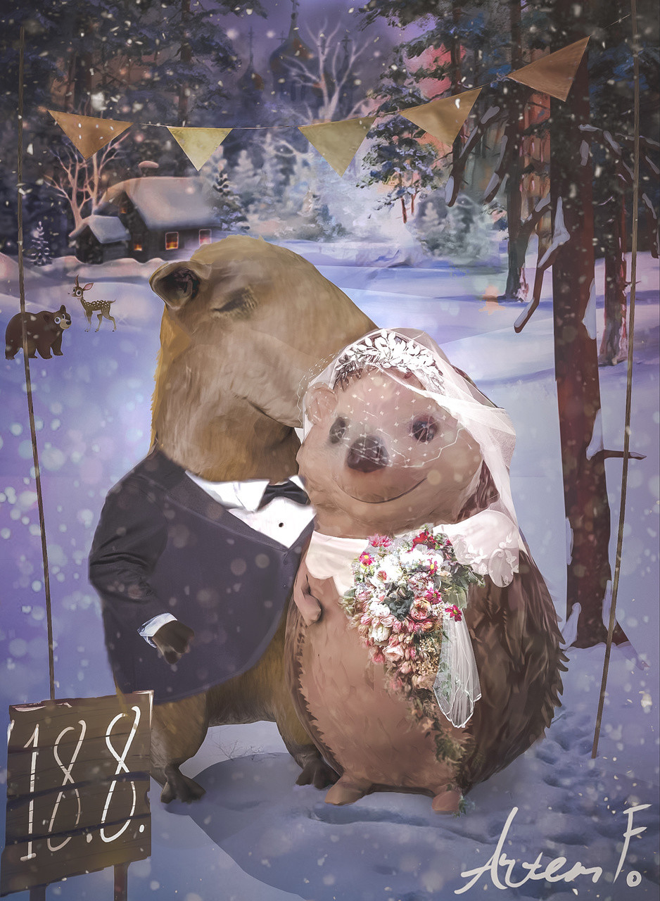 """I thought I share my 2017 winter holiday card and some screenshots from the way. This year's card is a bit more special because I am getting married next summer, so I decided to make it as a combination of holiday carcd and """"save the date"""" card."""