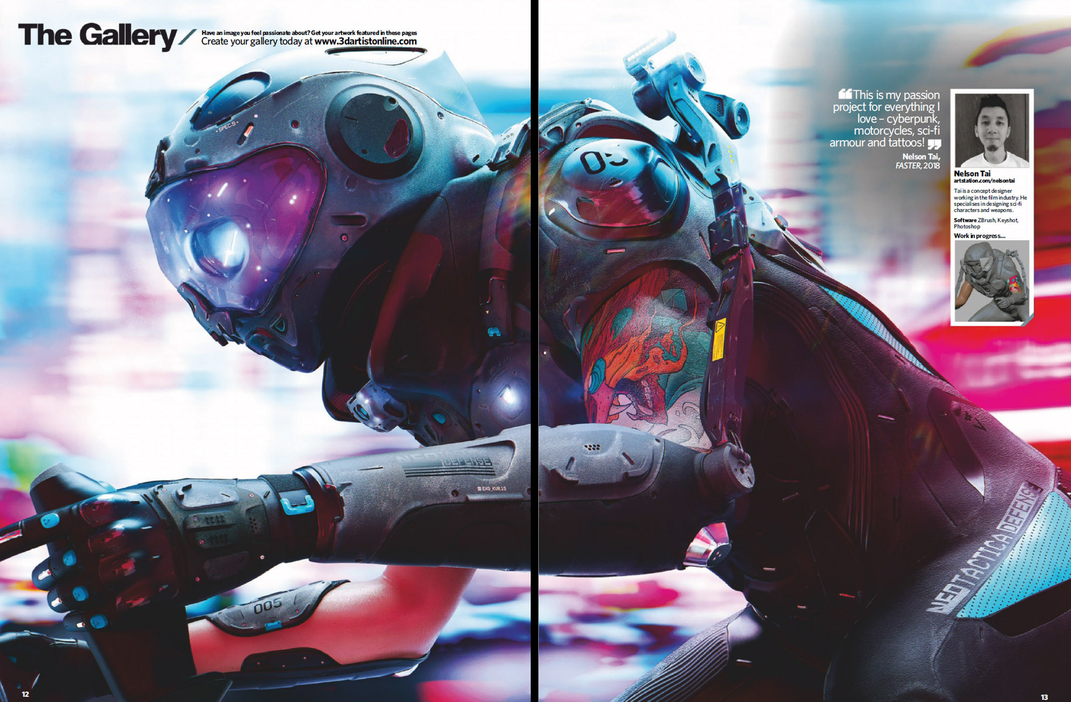Featured on 3D Artist Issue #127. Super cool to see it on a 2 page spread :)