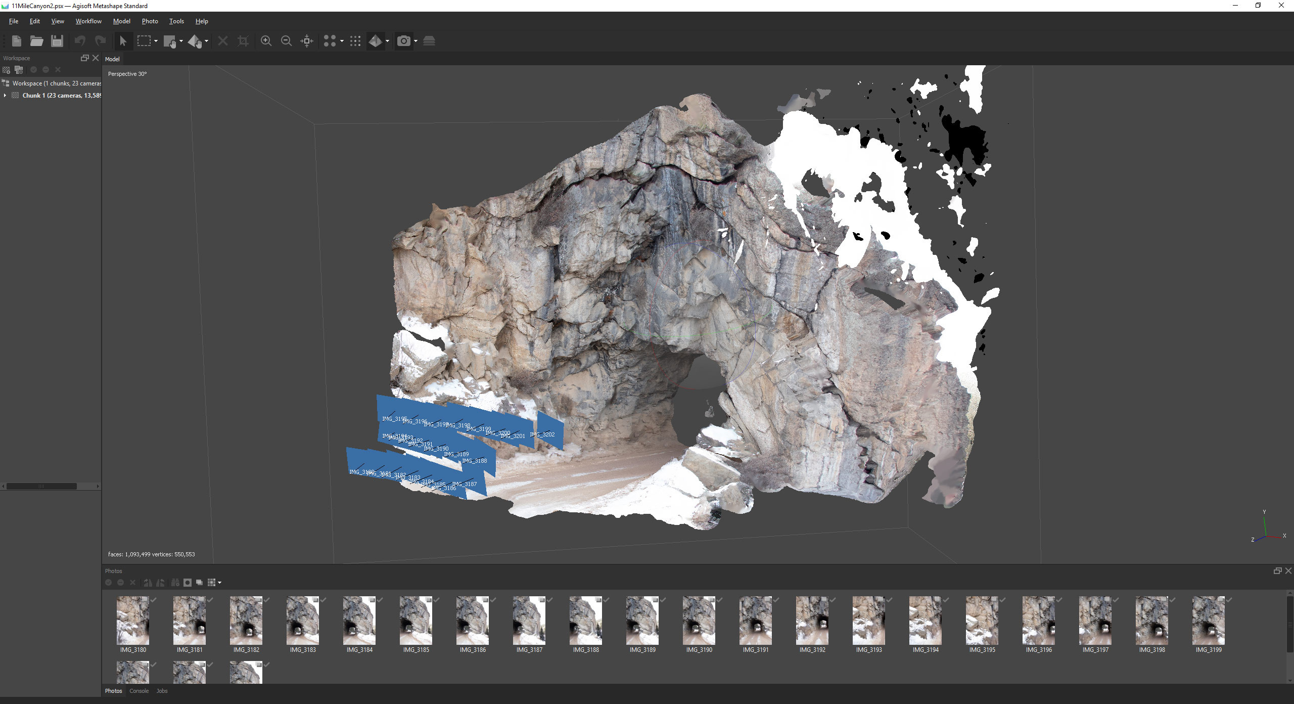 I photoscanned several cliff faces in Colorado-old train tunnels made the perfect cave entrance!