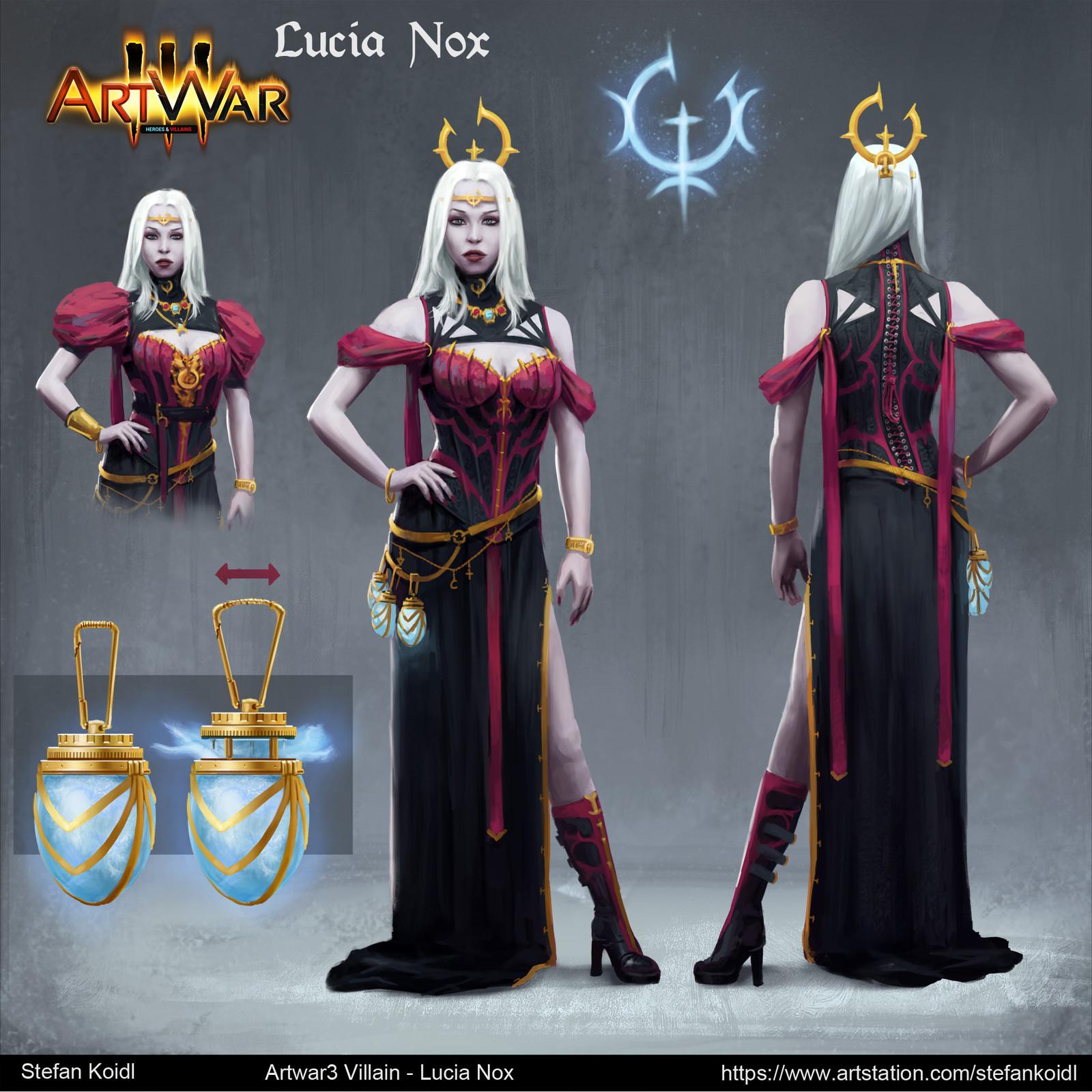 ArtWar 3 - Villains - Lucia Nox Concept sheet
