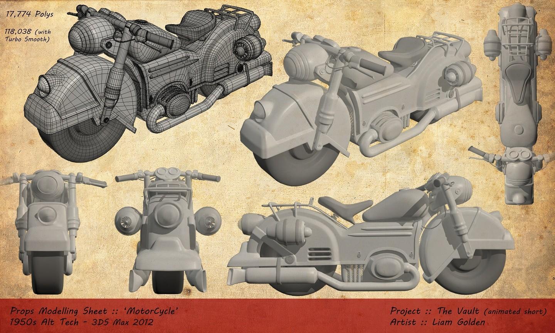 Liam golden motorcycle prop modelling sheet