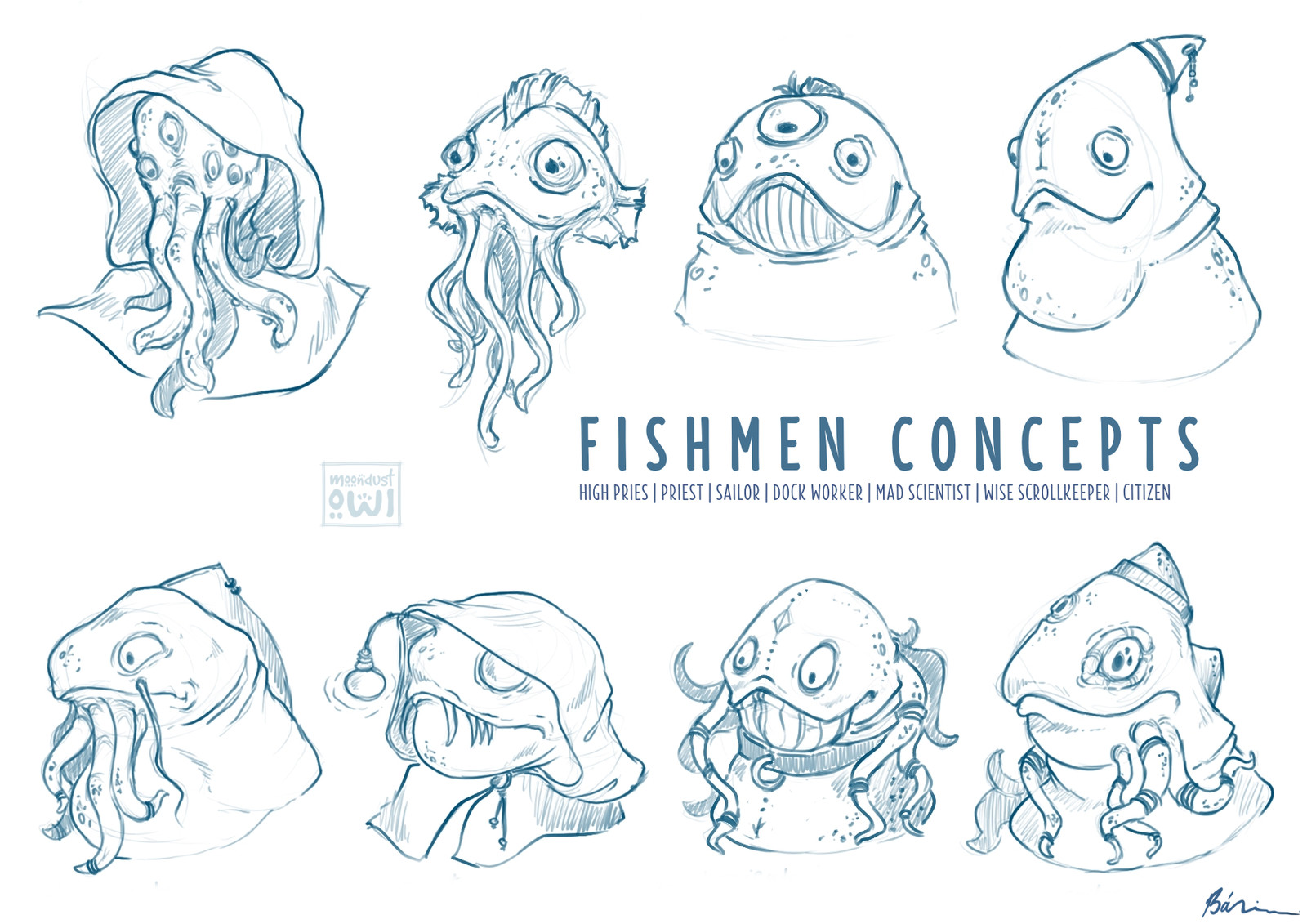 Fishmen concepts (heads) : citizens | priest & high priest | wise scrollkeeper | sailor | dock worker | mad scientist | city guard ...