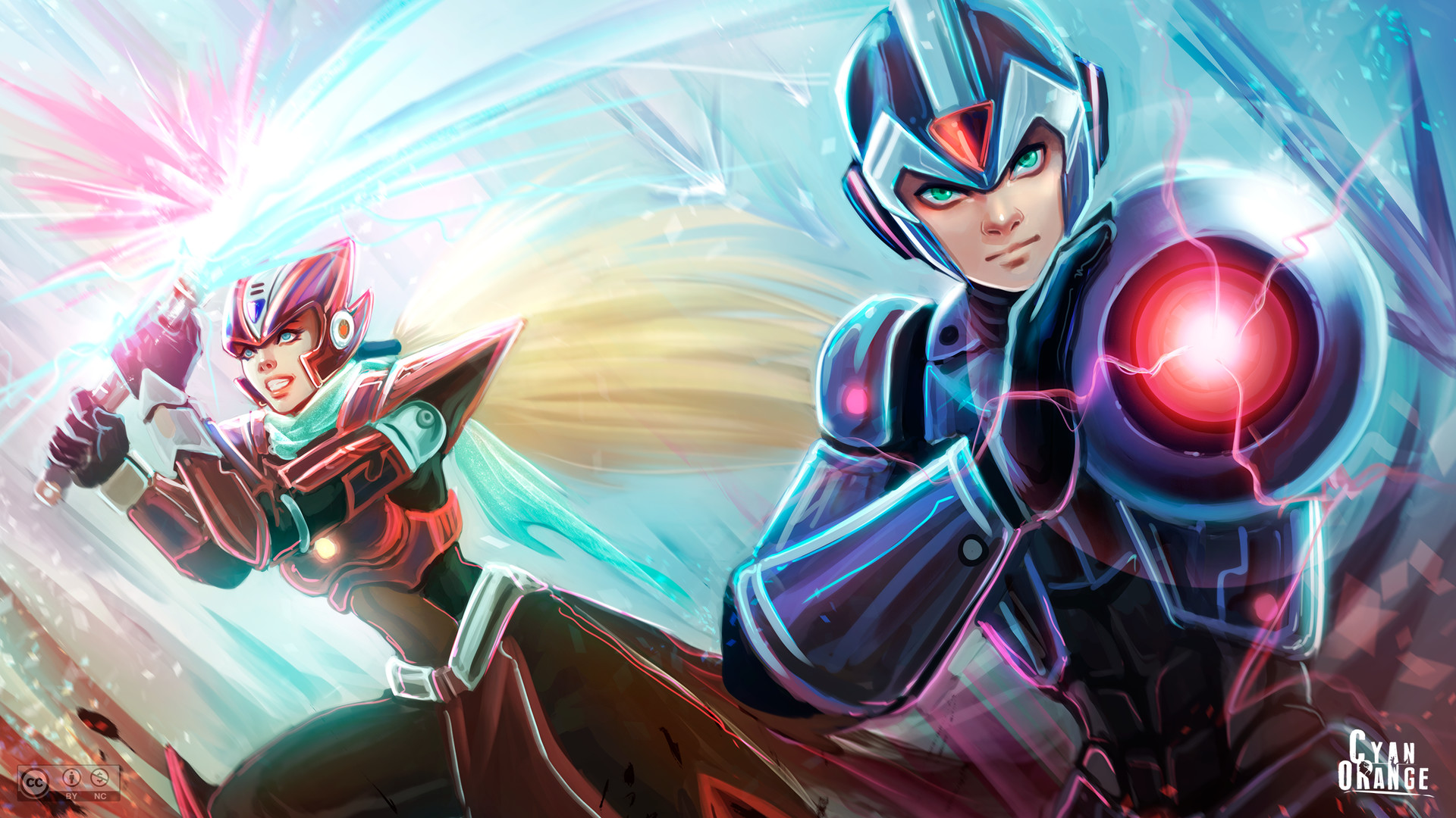 Artstation Megaman Zero Fanart Wallpaper Cyan Orange