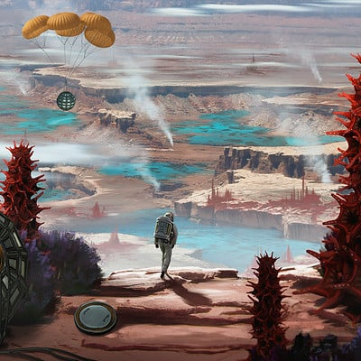 Travis lacey desert oasis alien planet concept art travis lacey web