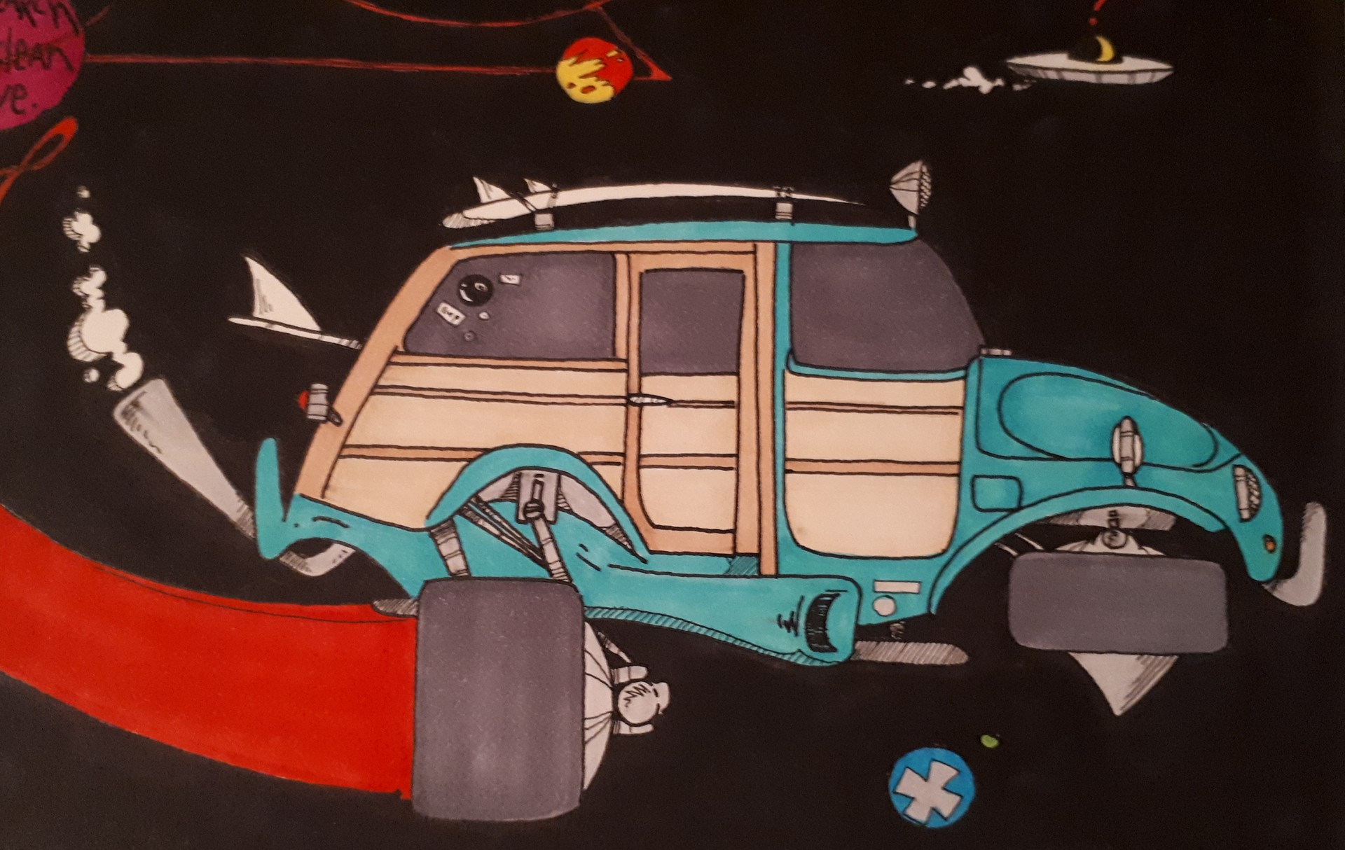 The illustration I did of the Baja Space Bug years ago as a teen