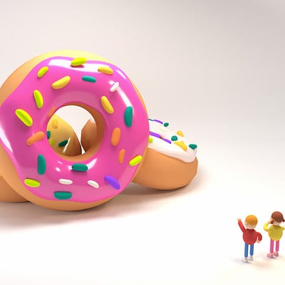 Tzuyu kao artstation tykcartoon children pointing at big donuts 0113ss