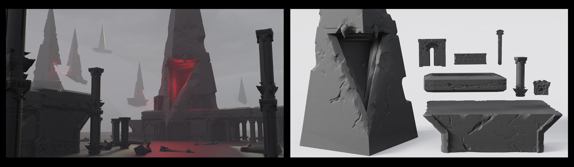 Blender sculpted assets and render