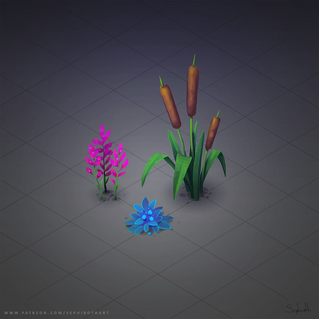 Sephiroth art isometric plants
