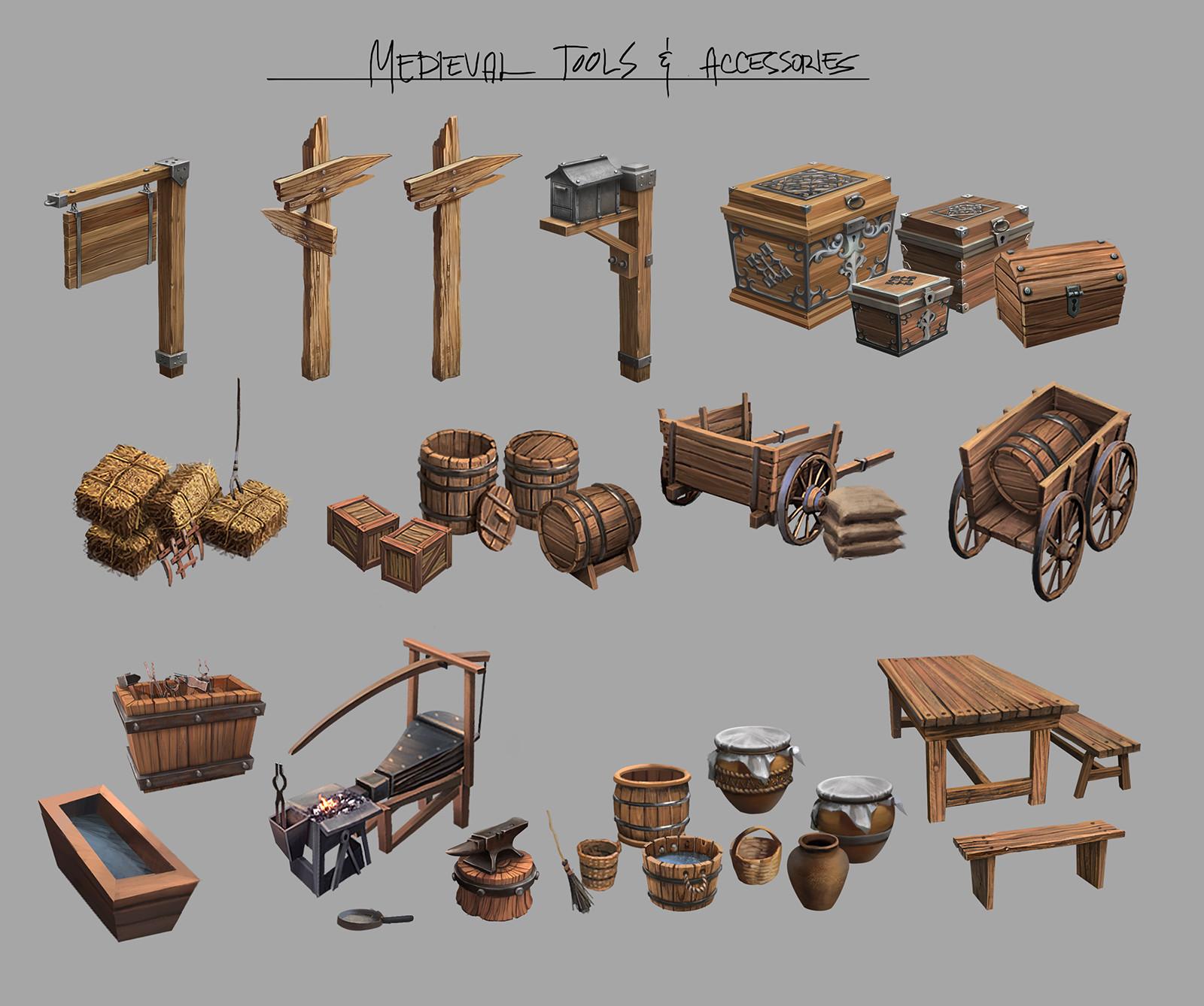 Ferdinand ladera medieval props tools conceptart