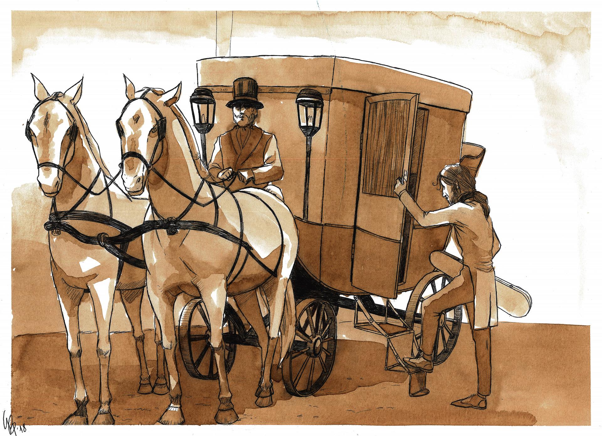 Paganini sale sulla carrozza per il tour europeo del 1828/34