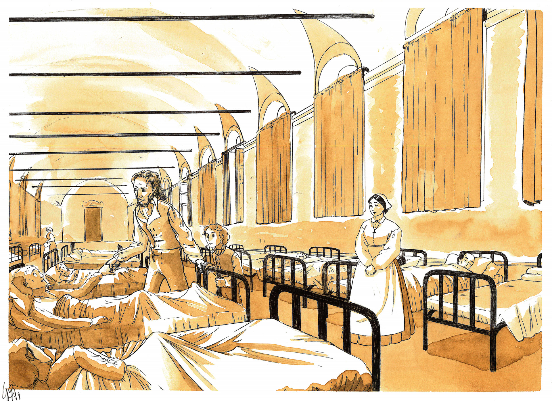Paganini si reca con il figlio Achille all'ospedale di Pammatone, per visitare i malati di colera durante l'epidemia del 1835.