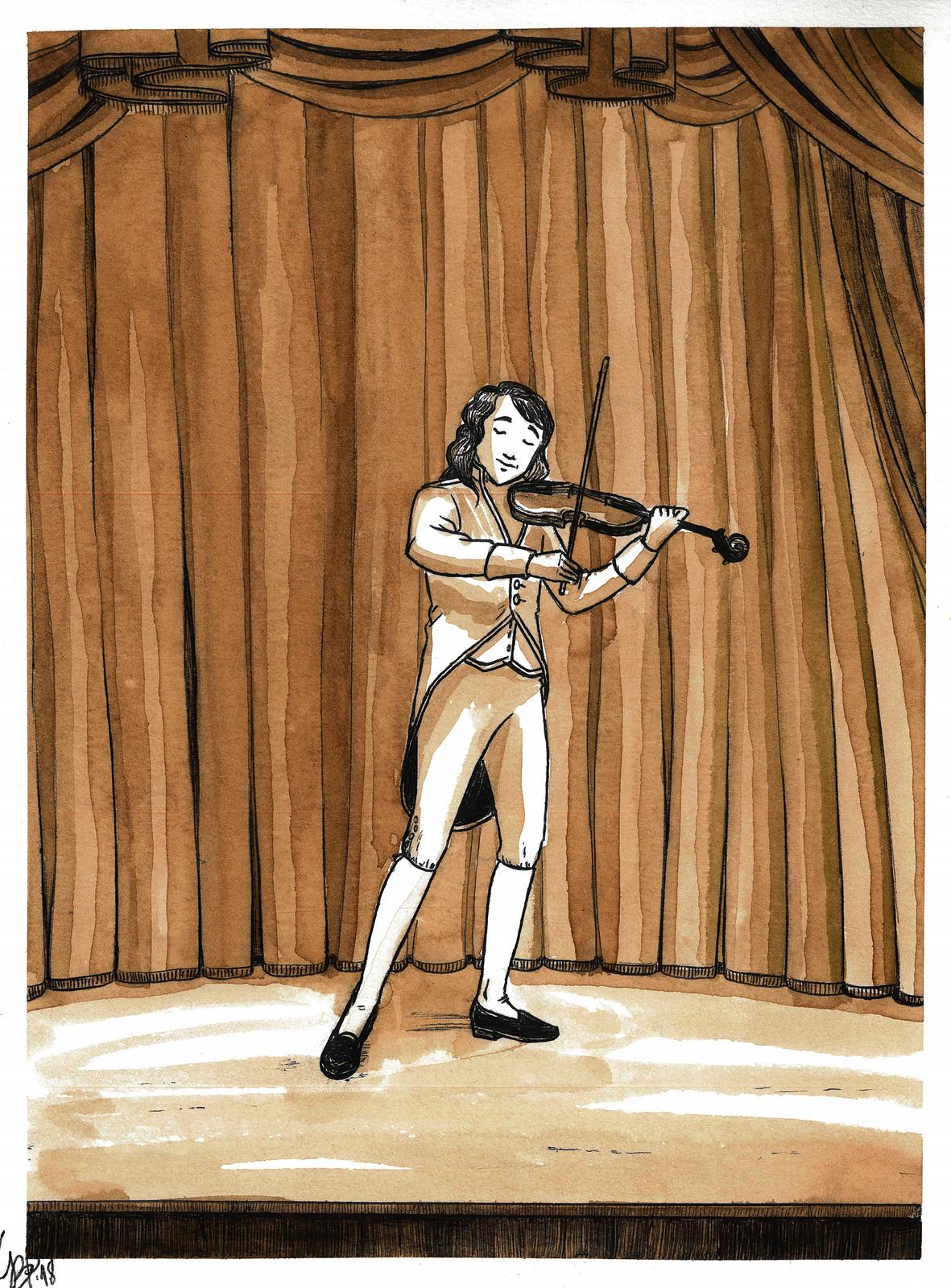 Appena dodicenne, Niccolò suona al Teatro di S. Agostino per finanziare i propri studi a Parma.