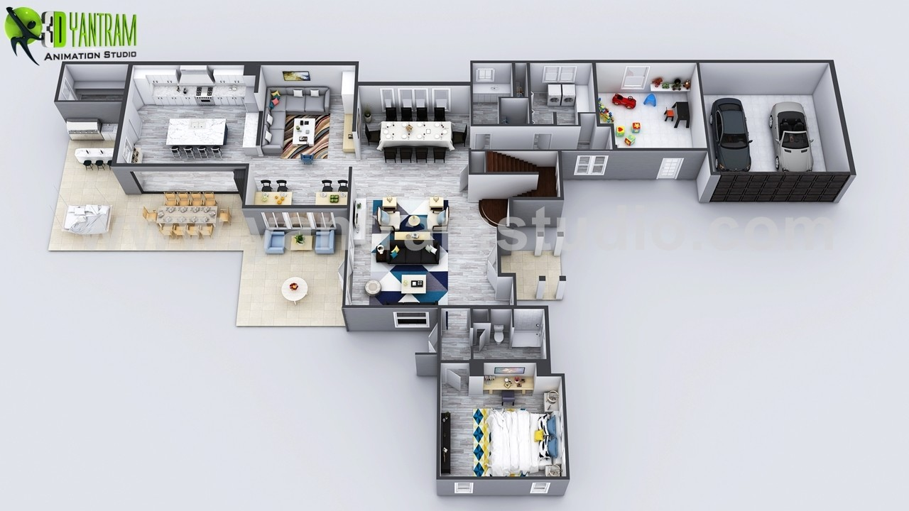 Exclusive new modern house virtual floor plan by yantram 3d animation studio moscow russia