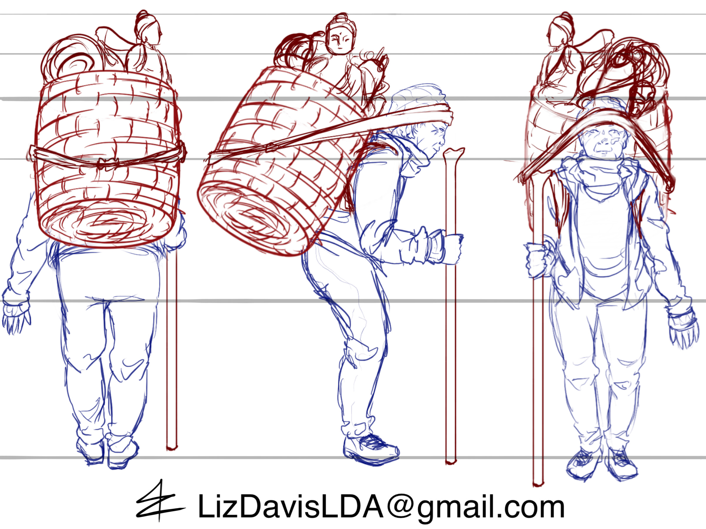 Sherpa turnaround created as a rough reference for a Zbrush model.