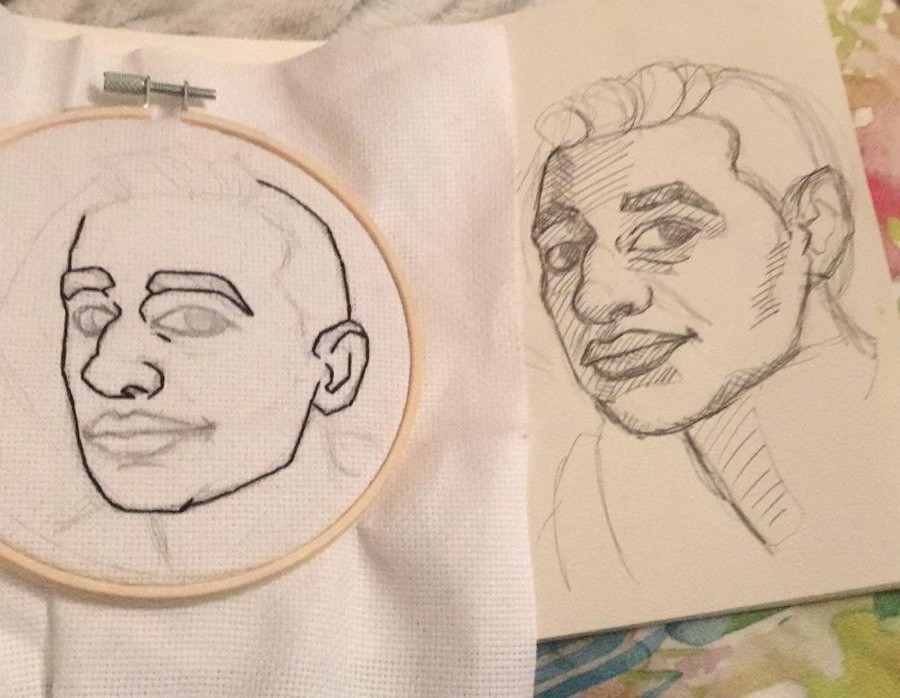 The first sketch, and the beginning of the embroidery