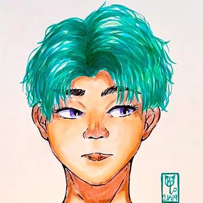 Blue Green Headshot sketch