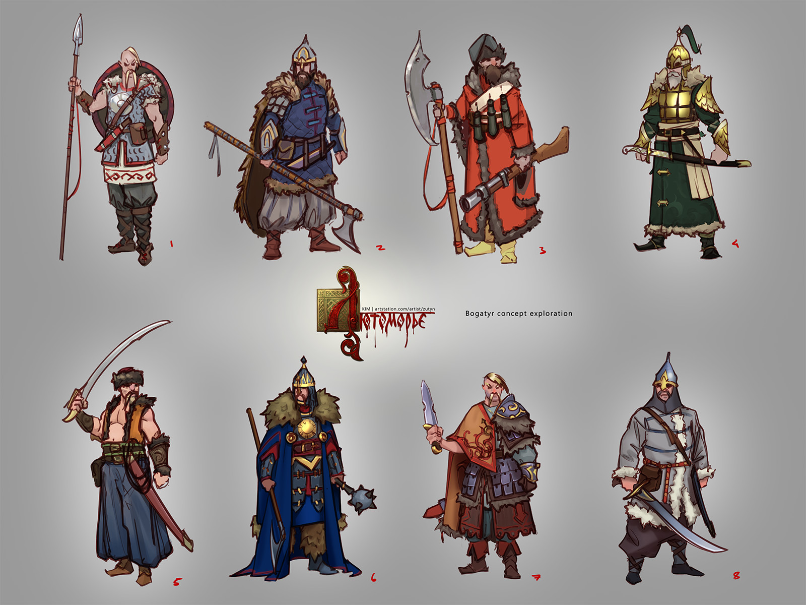 Rus bogatyrs (epic knights) concepts exploration