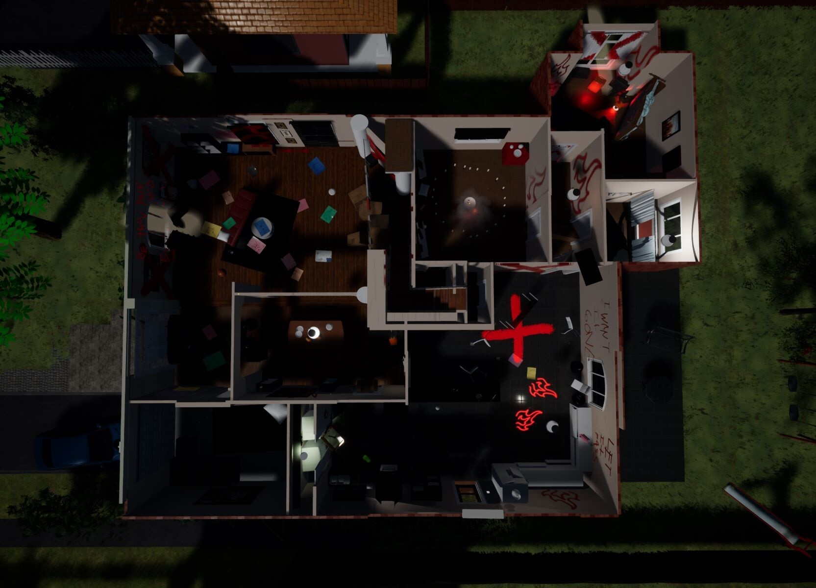 This is a overview look of the first floor. As you can see the level is small but due to combination of locked doors, exploration, and puzzle elements, this efficient space is able to give the player a satisfying single player adventure of up to 45 min