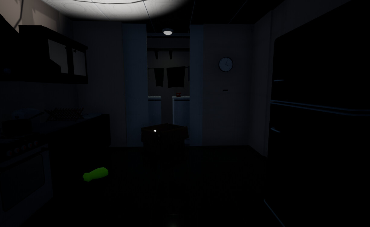 The KitchenThe only light present in this first area is coming from the flashlight which is an important pick up