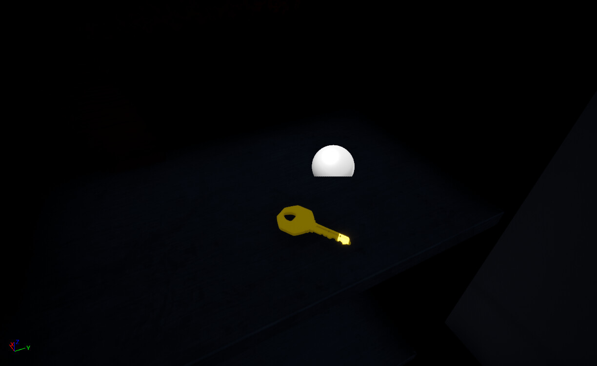Playtesters had a hard time finding the key in the 1st iteration and did not like the original 3d model style. I changed the key model to look like a house key and made it flash and shimmer as well as give off a glimmering sound when the player is near it
