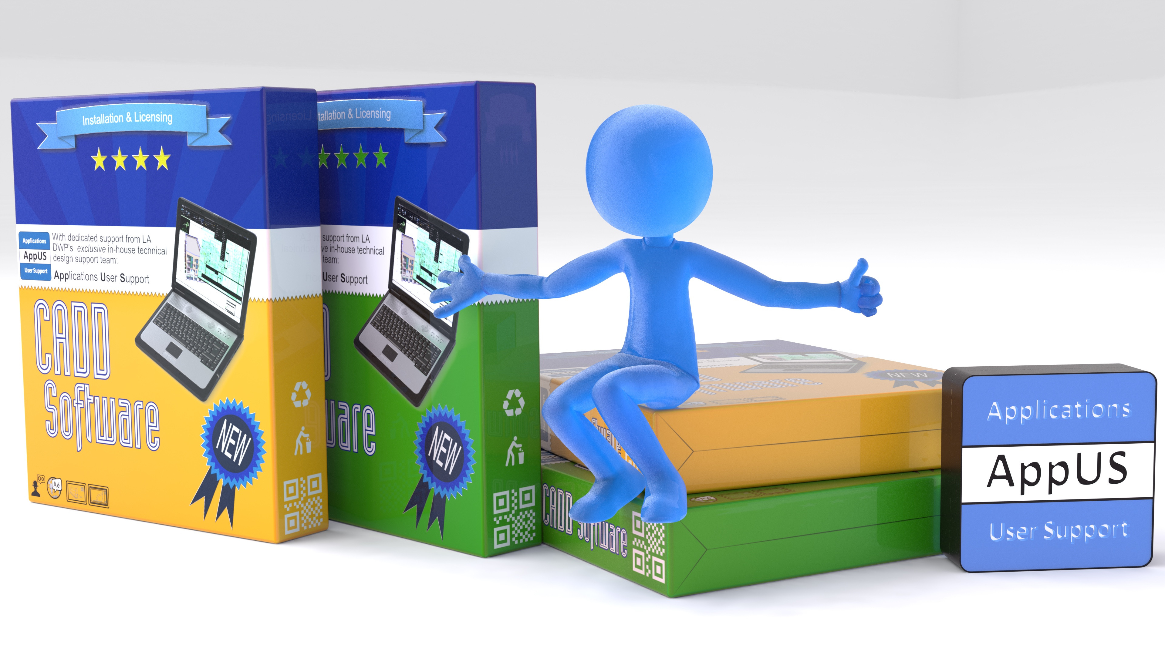 """Blue gummy brand mascot depicting """"software support"""""""