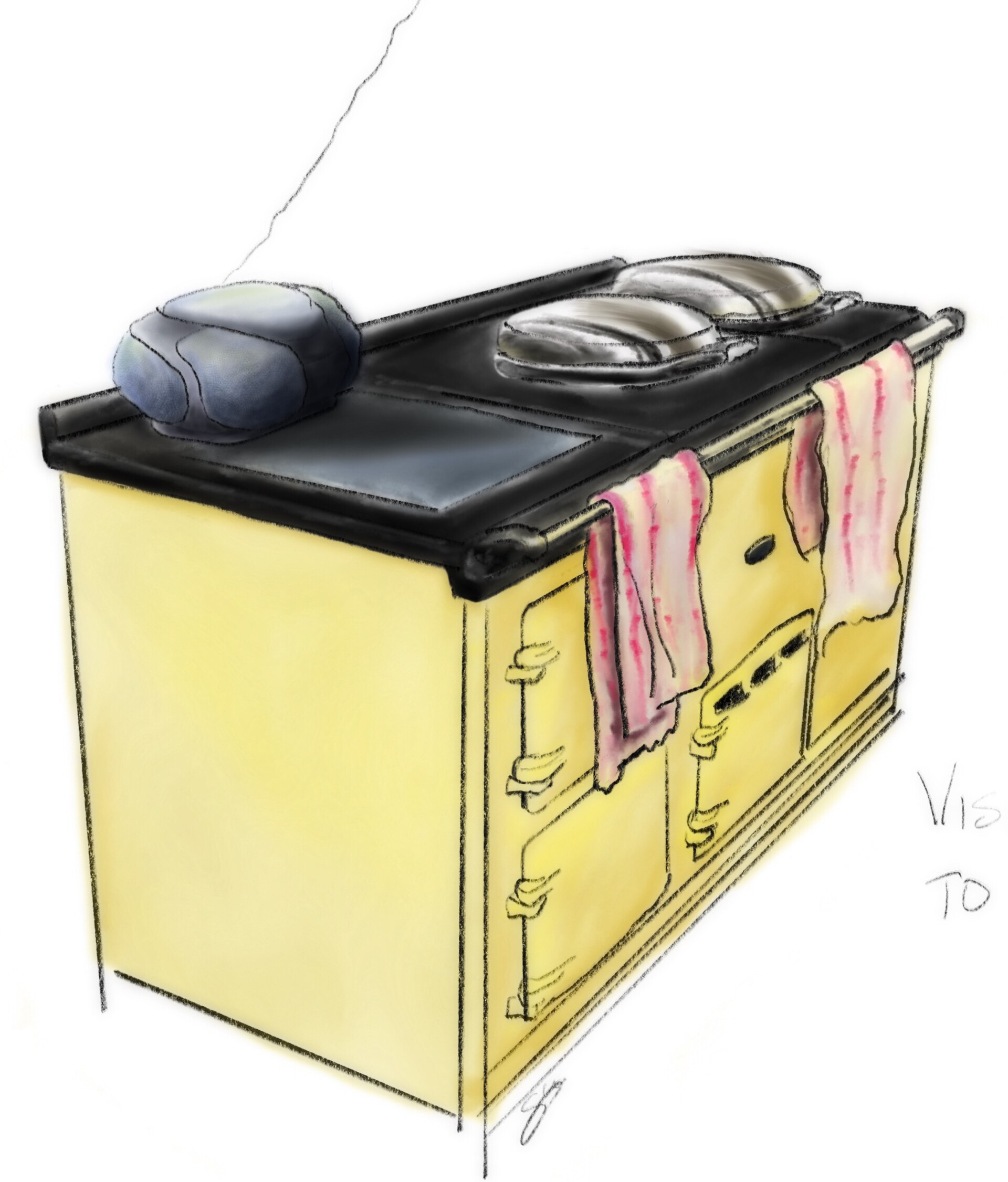 Sketch of an Aga with radio on top - Procreate