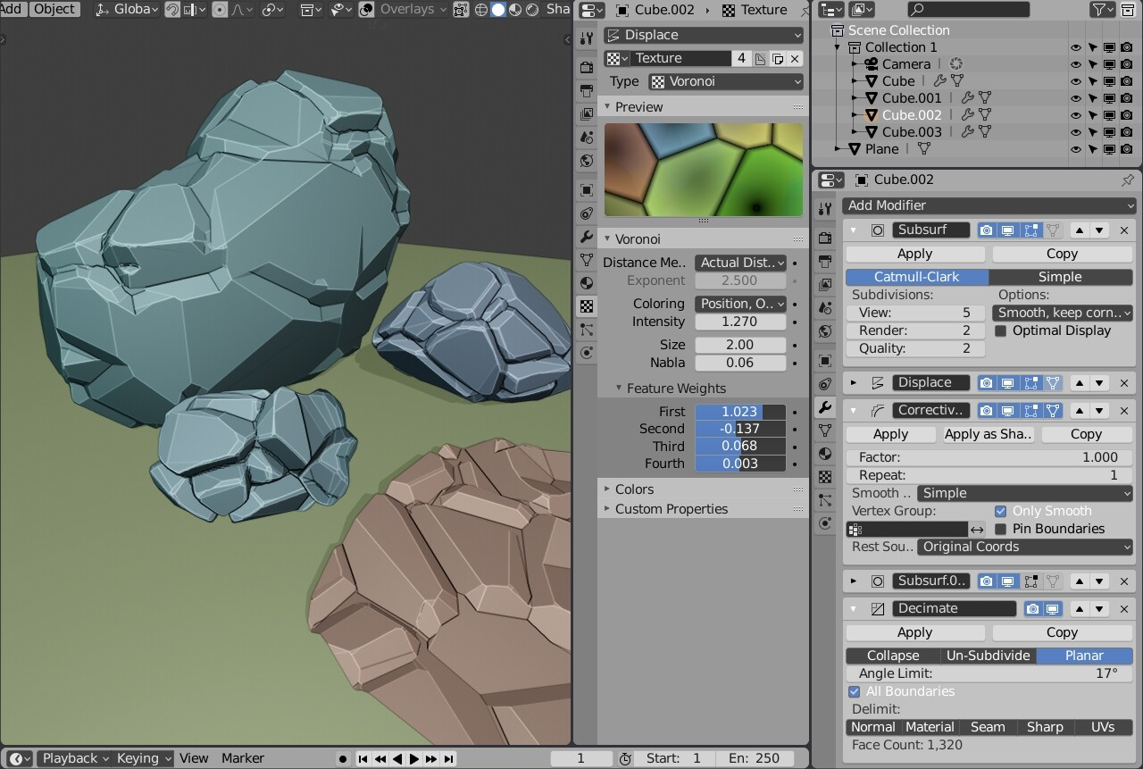 Low_poly rocks with a couple of modifiers