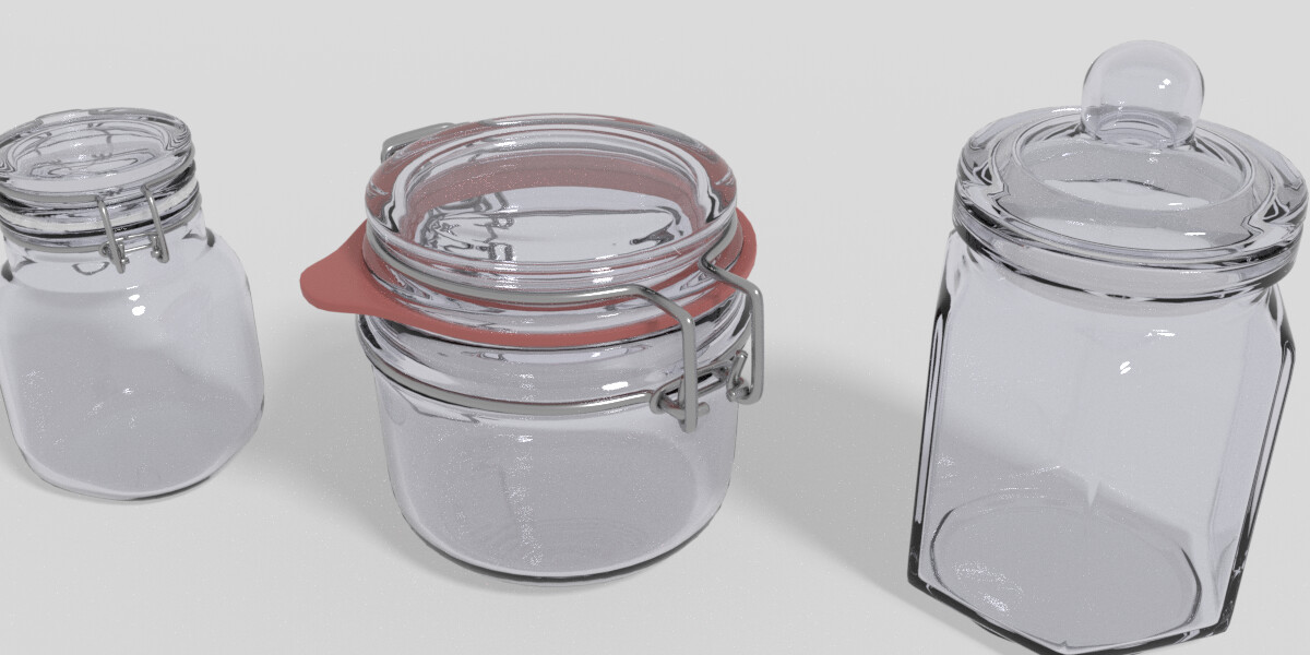 Digital Render of the Preservation Jars Outside of the Scene, Completed in Blender Cycles at 100 Samples.