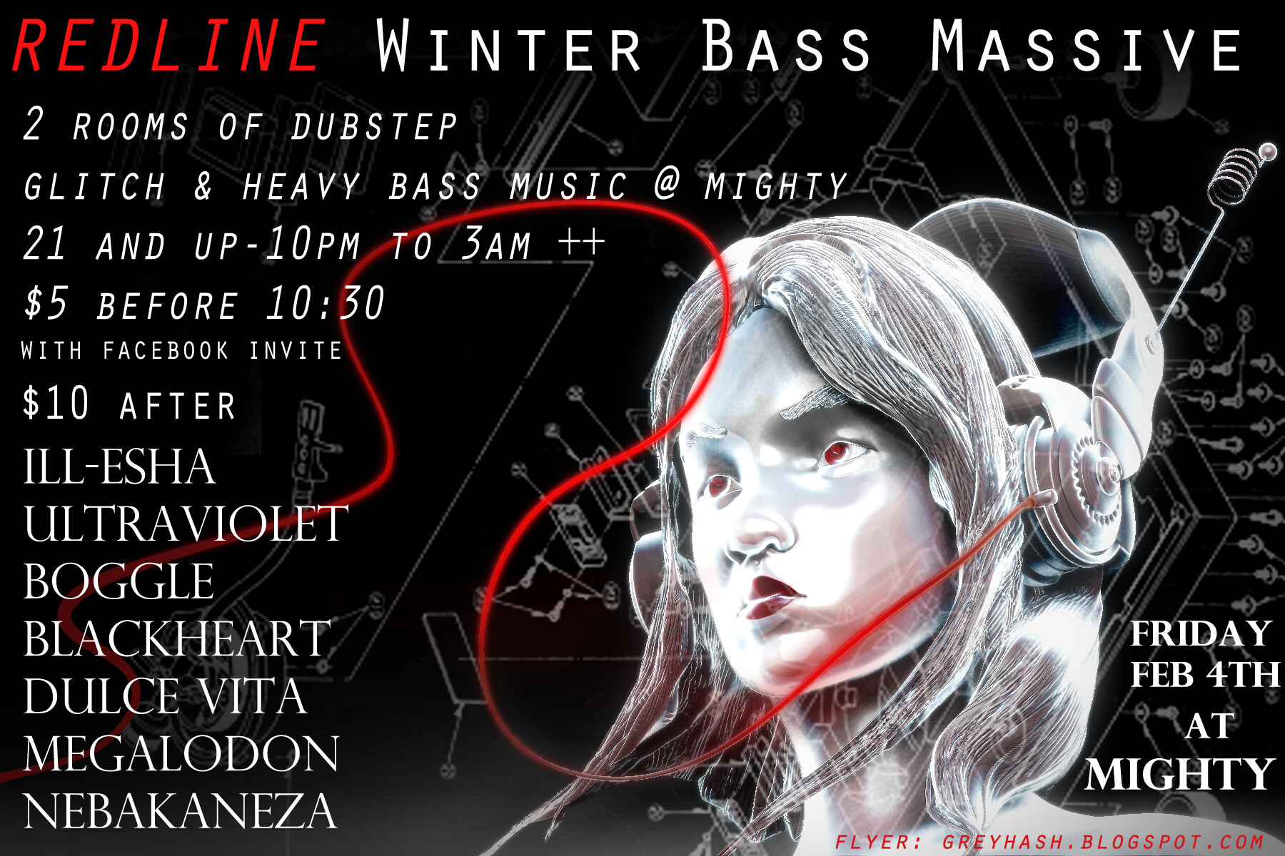 Grey hash redline winter bass massive