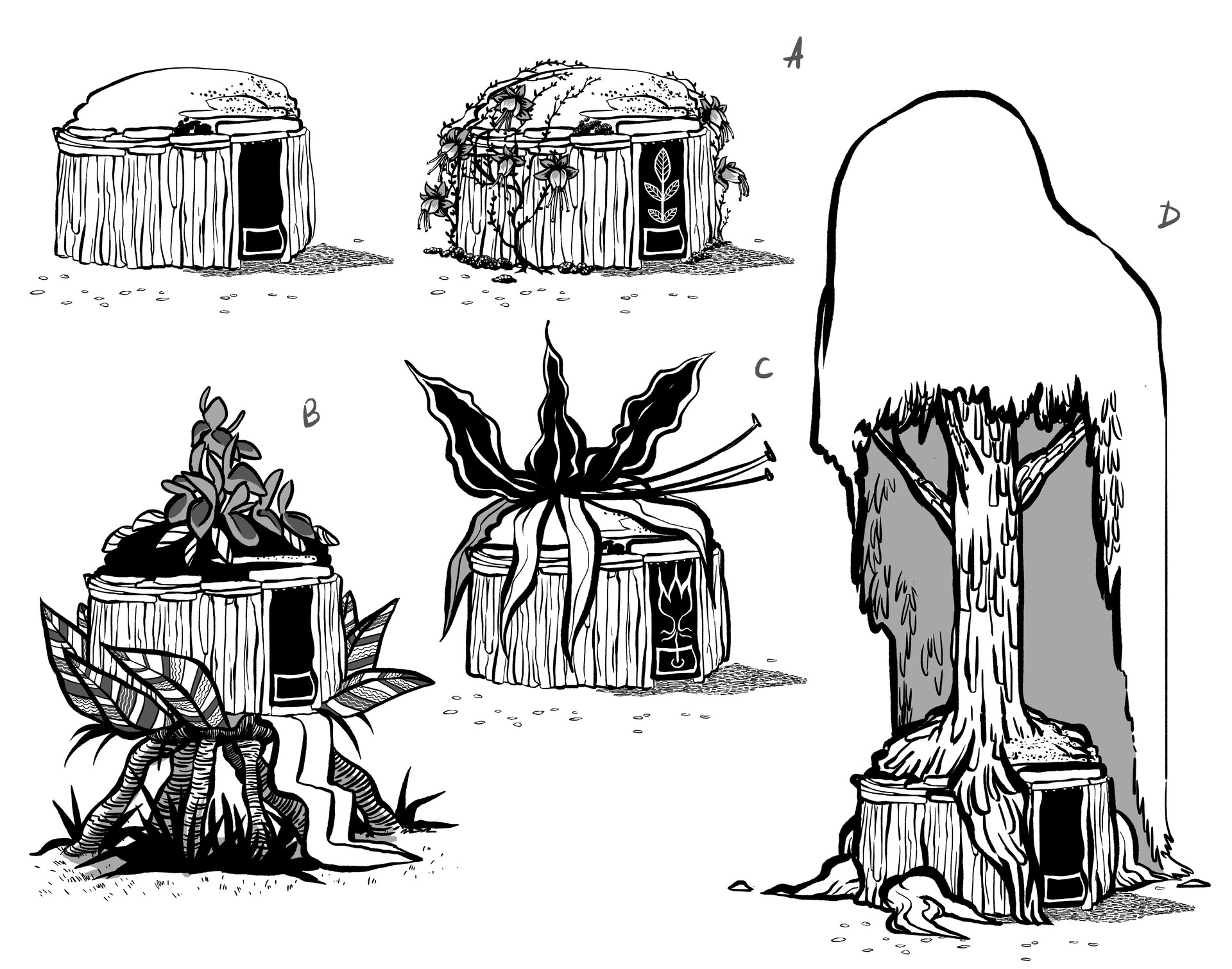 Hut exploration - Herbal buildings Ahote and Yutu Village