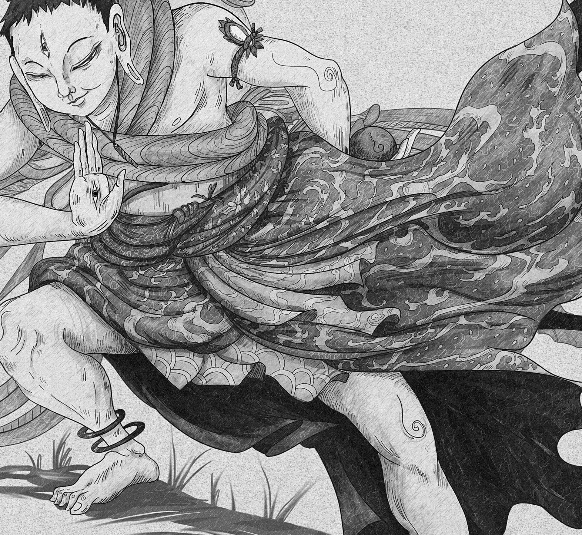 Christian benavides the ki boija the voyager with the key final art greyscale close up 3
