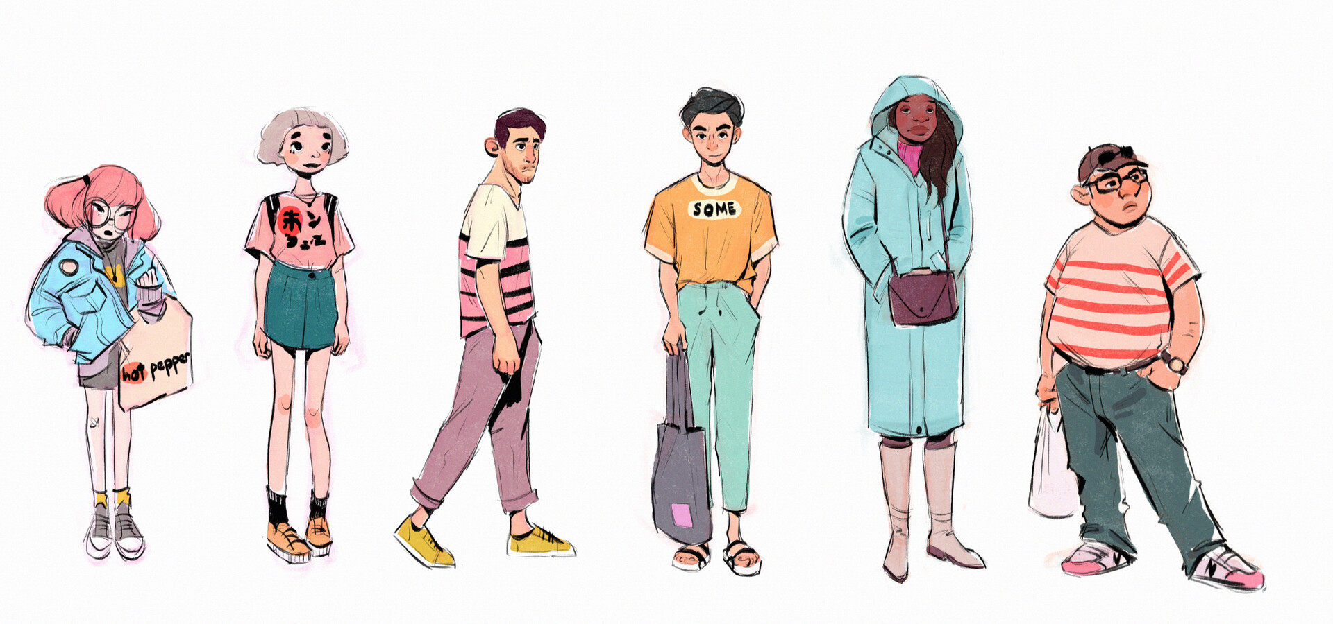 Tried to design a line up of some generic background characters.