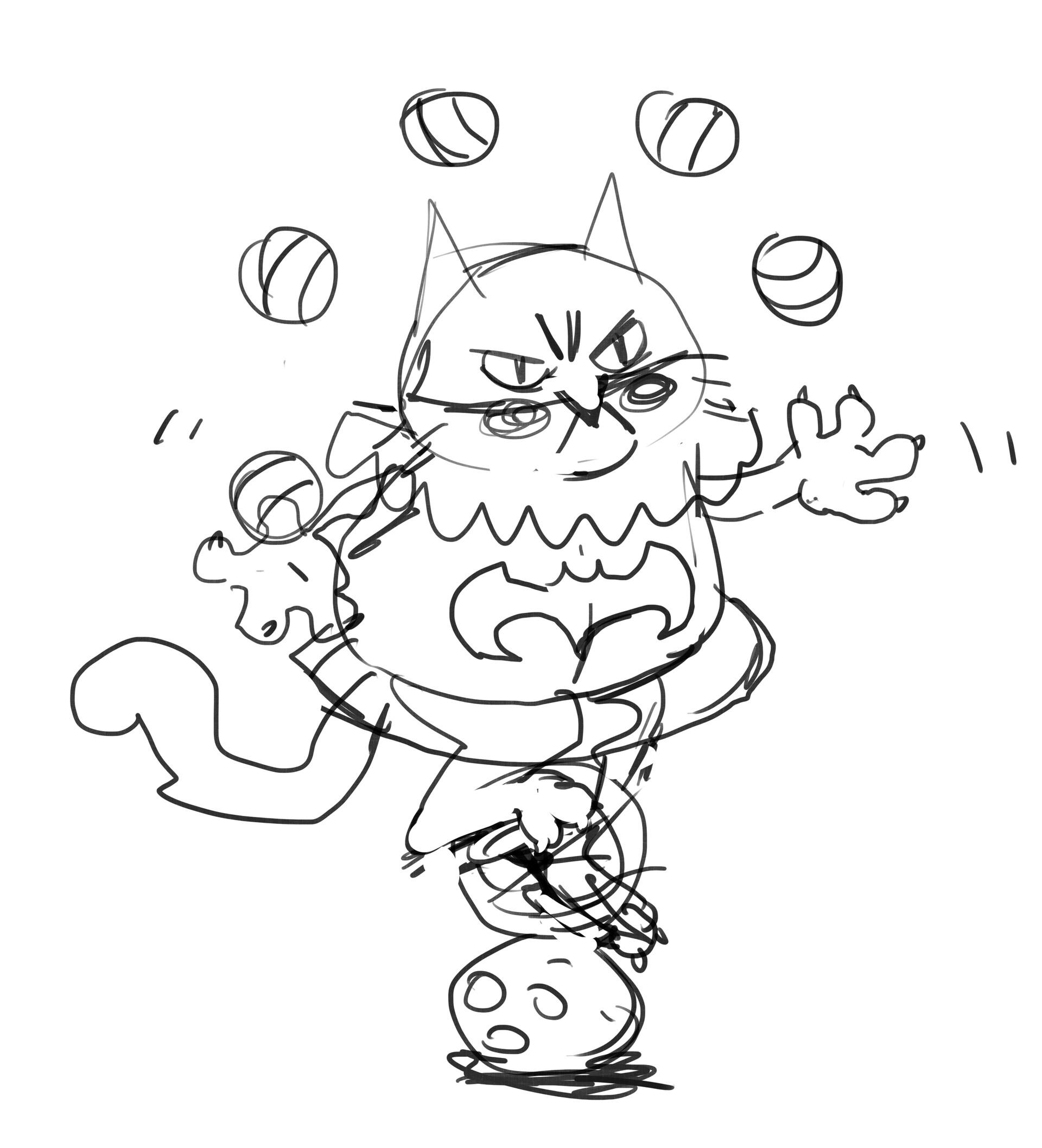 Korina hunjak masked cat jester sketch