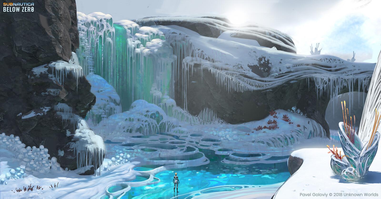 Frozen river waterfall