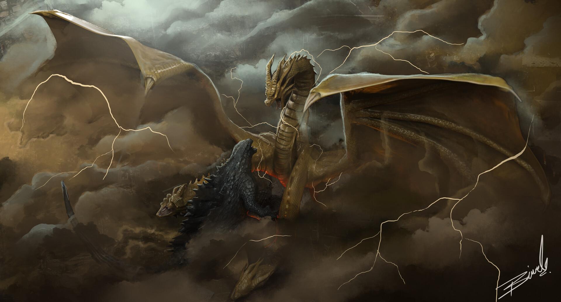 Artstation Godzilla Vs King Ghidorah Birmel Guerrero