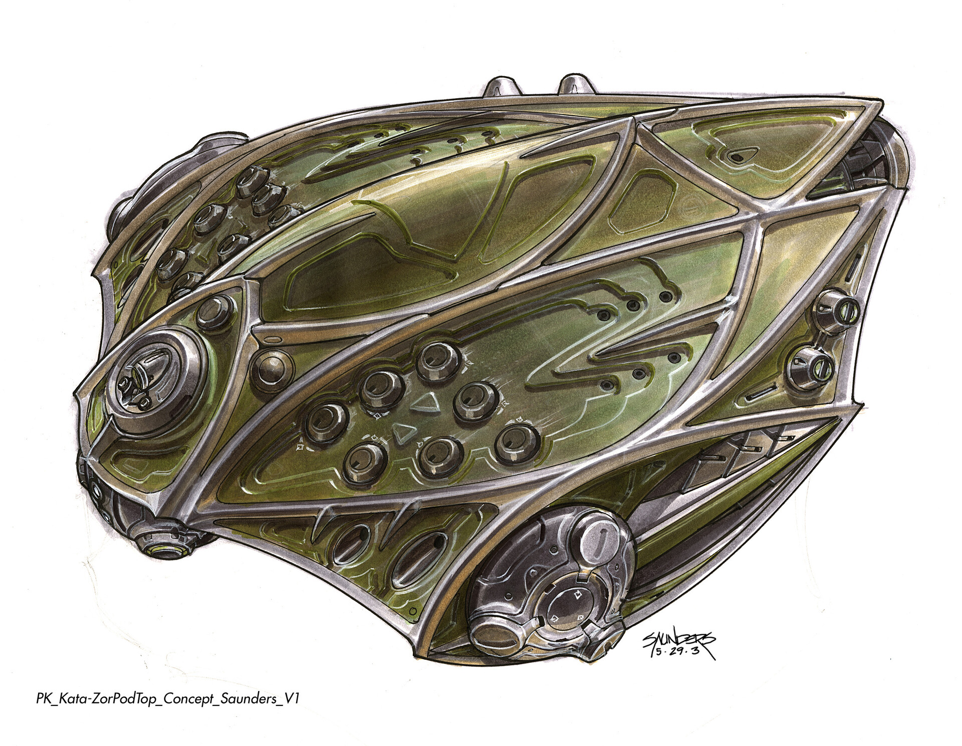 Final design of the Kata-Zor Pod. In contrast to Kal-El's more tear-drop shaped pod, these needed to look wicked and deadly. Fellow designer Geoff Darrow had established an almost  medieval look to Kryptonian architecture, so I took some cues from that.