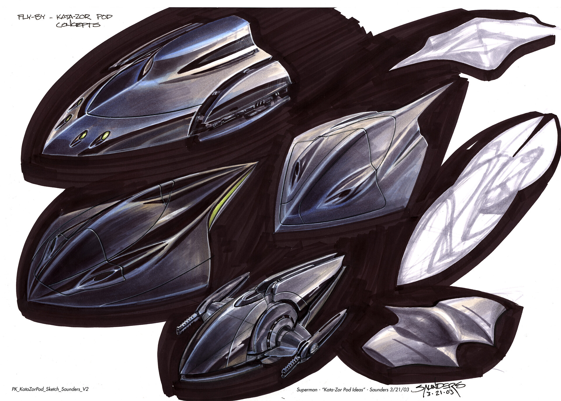 More initial concepts. These were still considered too similar to Superman's pod, so a new aesthetic direction was needed.