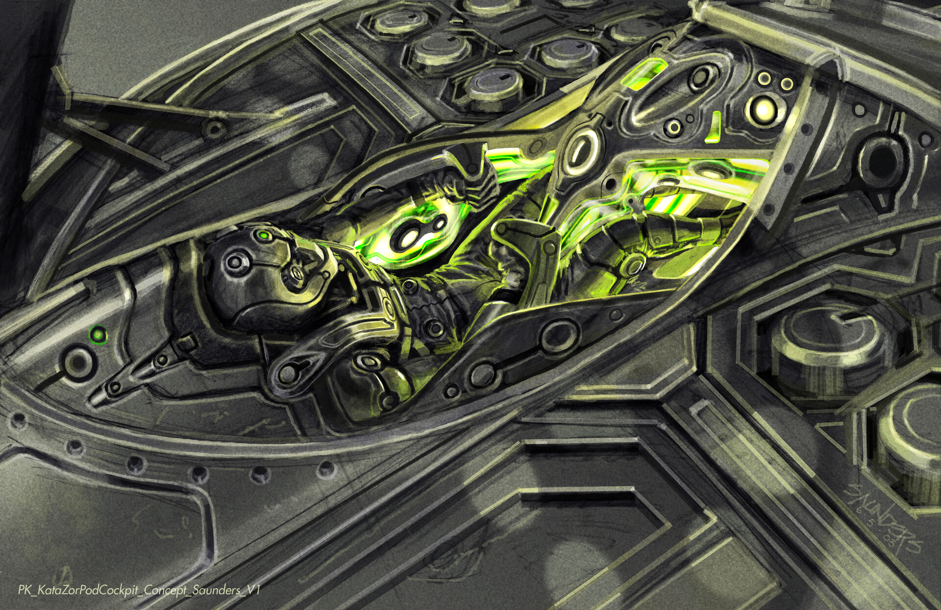 A rough prismacolor pencil sketch of the interior rendered in Photoshop. I envisioned the whole clamshell opening up to reveal the pilot's seat. The light circles cast on the surface would have been from the openings for the cylindrical mortar batteries.