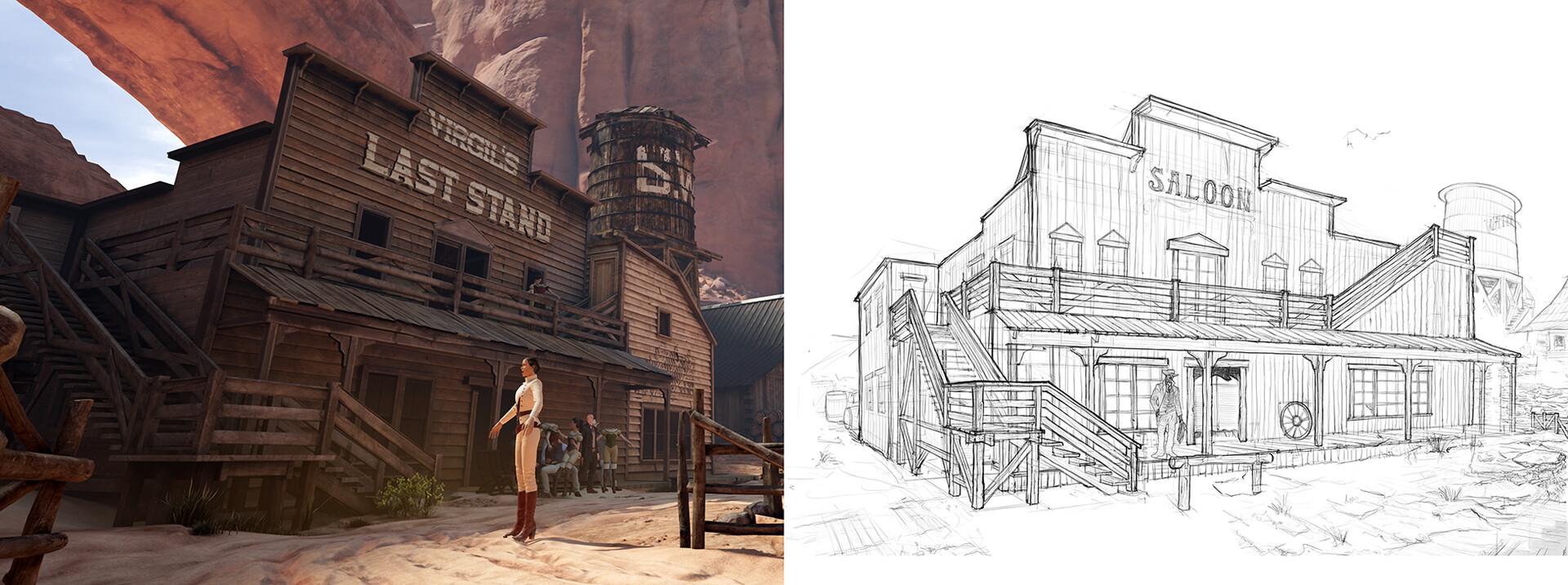 The Road House | On the right is my design for the Road House. The left is showing the finished in Game One, Textured by Tanner Ellison