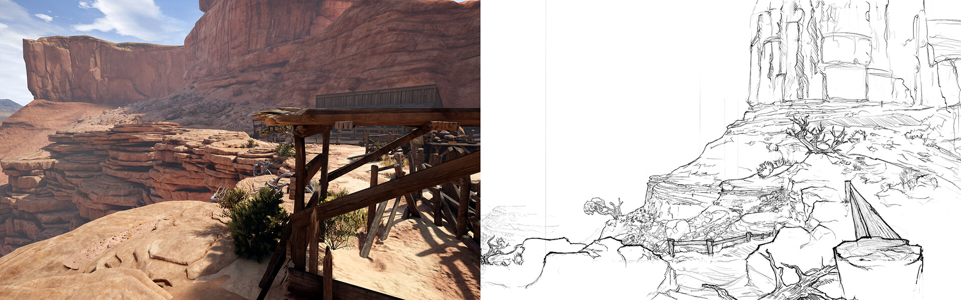 The Bluff | On the right is the concept I made for the cliff. On the left is the finished in game scene, by Tanner Ellison and Patrick Loughman