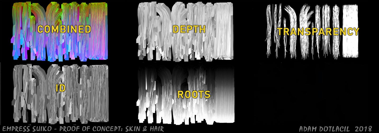 Hair cards textures based on Lithvall's template. Hair strands were created in Zbrush and baked in MT3
