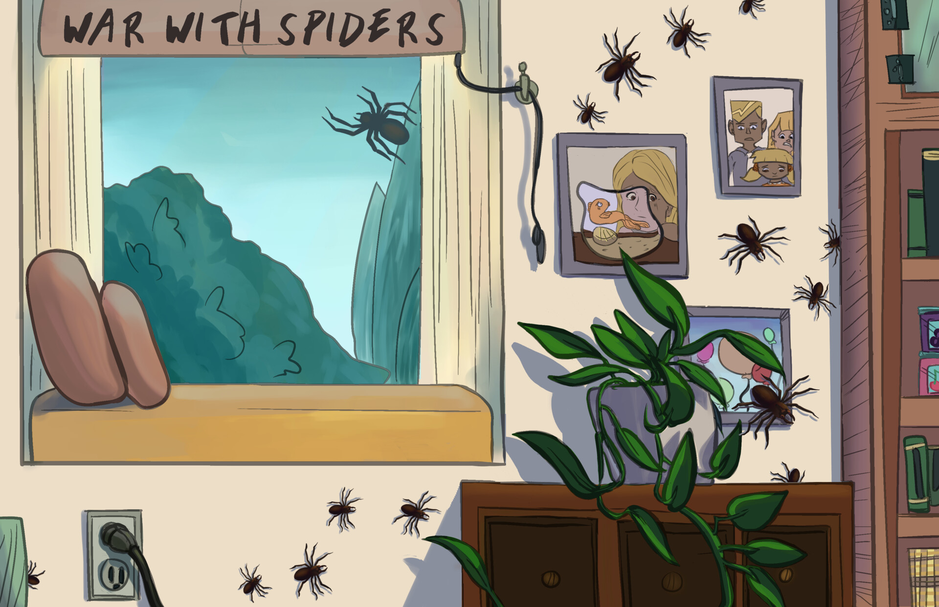 Lillian Chen - Bugology Wallpaper 3 - War with Spiders - illustration